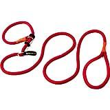 Retrieverleine | Leichte Hundeleine und Halsband in Einem | 200 cm Moxonleine | Rote Halsbandleine mit Zugbegrenzung von Hundefreund
