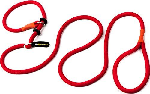 Retrieverleine | Leichte Hundeleine und Halsband in Einem | 200 cm Moxonleine | Rote Halsbandleine mit Zugbegrenzung von Hundefreund (Zugleine)