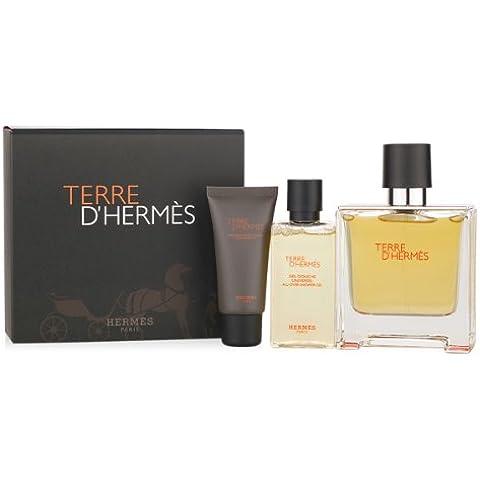 HERMES TERRE D´HERMES Eau De Parfum 75 ML+ GEL 40 ML + A/S BALM 15 ML SET REGALO
