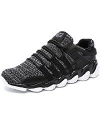 UBFen Chaussures de Sport Homme Femme Course Running Compétition Sneakers Baskets Respirante Fitness Casual Trail Entraînement Tissés à la main Blanc Noir 36-47