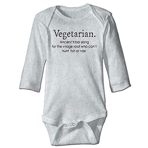 Bodysuits Vegetarian Ancient Tribal Slang Boys Babysuit Long Sleeve Jumpsuit Sunsuit Outfit Ash ()
