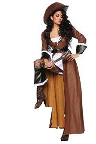 Piraten-Kostüm braun/weiß/schwarz Mantel, Kleid, Hut, 1 Paar Stiefelstulpen, Gürtel, String, Säbel (XL-40) (Mantel Kostüm Piraten)