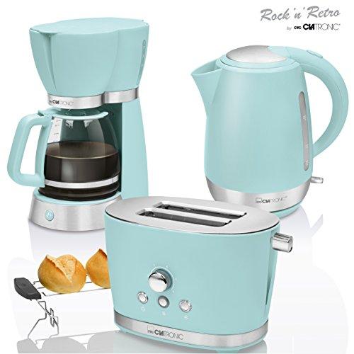 CTC Set Frühstück Vintage, Kaffeemaschine Filterkaffeemaschine 15Tassen, Brot 2Scheiben-Toaster, Wasserkocher 1,7Liter, grün mint pastell Retro