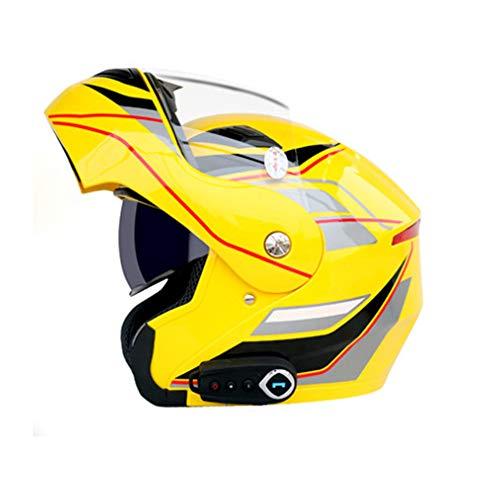 Preisvergleich Produktbild HXYT Vollgesichts-Rennsport-Bluetooth-Helm,  DOT-Zertifiziert / Doppelobjektiv-Offroad-Motorradkreuzer für Erwachsene (Farbe: gelb), XL