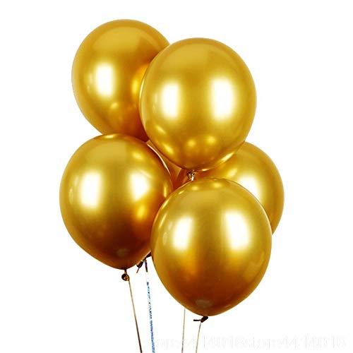 Topeedy Pallone Party 50pcs 12 '' inch Lucido Oro Metallizzato Palloncini in Lattice di Elio Decorazioni di Compleanno di Nozze