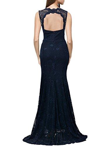 Miusol Damen Kleid Elegant Spitzen Sommer Rueckenfrei Aemerlos Langes Fishtail?Brautjungfer Cocktailkleid Dunkelblau Gr.L - 2