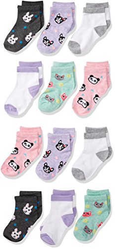Cherokee Little Girls' 12 Pack Shorty Socks, Assorted Sherbet Animal, 2T-4T image