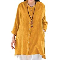 GRMO Women Asymmetrical Cardigan Long Sleeve Fitted Button-Front Shirts Yellow US L