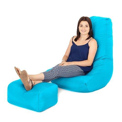Teens Gaming-stühle Für (Türkis Wasserabweisende Outdoor Gaming Sitzsack Highback Liege Stuhl und Fußhocker)