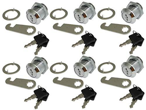 AERZETIX: 6 X Arretierungen Schlösser und Schlüssel für Briefkasten-Tür C41402