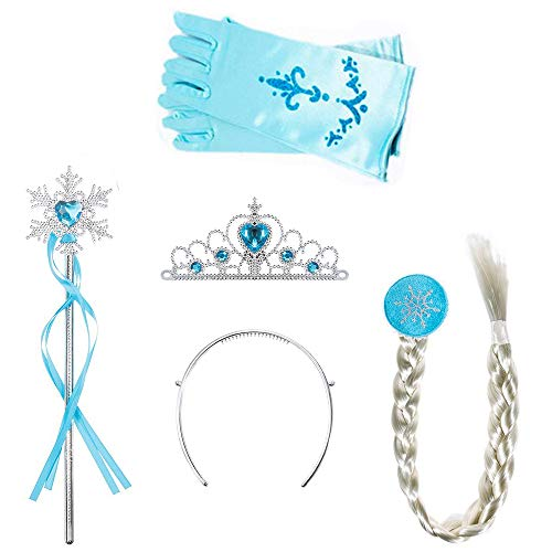 Amaoma 4 Pezzi Vestito Elsa Frozen Bambina Accessori Set da Principessa dei Ghiacci Corona Principessa Bacchetta Magica Treccia a Clip Guanti Set per Costume da Principessa (Azzurro)