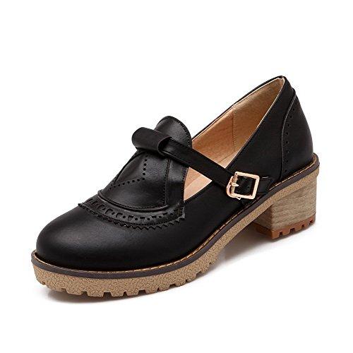 AgooLar Femme Rond Boucle Pu Cuir Couleur Unie à Talon Correct Chaussures Légeres Noir