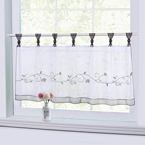 LinTimes bestickte Cafe Vorhang Fenster Tier Vorhang, Semi Sheer Vorhang Fenster Behandlung Registerkarte Top Voile Fenstervorhang, Tier Half Fenstervorhänge für Küche Bad Wohnzimmer, grau, 45 * 90 cm