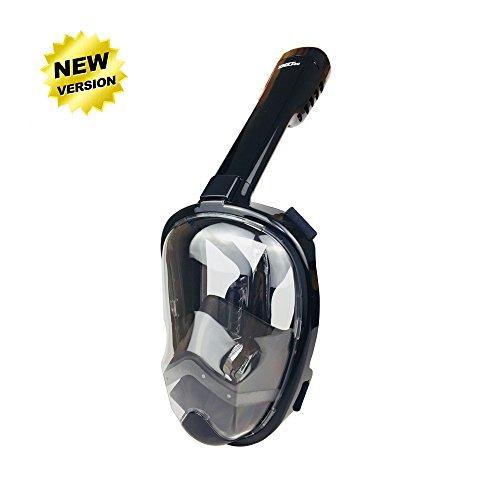 ZMZTec Masque de Plongée panoramique intégral, 2018 Nouveau Pliable Masque de Plongée Plein Visage 180°, Anti-Buée et Anti-Fuite, Snorkel Masque de Plongée Libre Respirant (Noir L/XL)