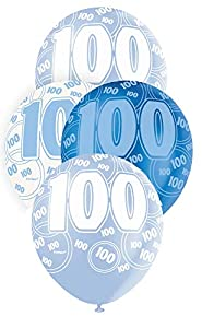 Unique Party Paquete de 6 globos de látex de 100 cumpleaños Color azul Edad (80924