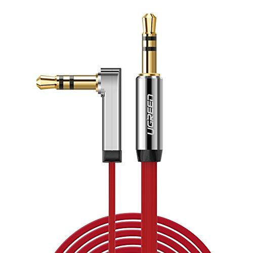 UGREEN Câble Audio Jack 3.5mm Mâle vers Mâle 90 Degrés pour Casque Téléphone Tablette MP3 Voiture Autoradio, iPhone X/ 8 Plus/ 8/ 7 Plus/ 7, Samaung Galaxy S8/ Plus S8 etc (1 M, Rouge)
