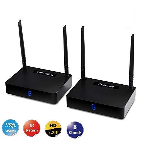 MEASY HD585 5,8 GHz 8 Kanäle WiFi HD 720p Audio Video Sender und Empfänger bis zu 350 m / 1150 ft mit IR-Fernsteuerungsfunktion, Farbe schwarz - 5.8 Ghz Audio Video Sender