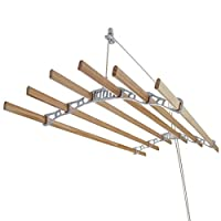 Clothes Airer Ceiling Pulley Maid Traditional Mounted Clothing Dryer 6 Lath Laundry Drying Rack Rail 1.2m White