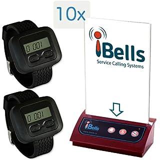 Kellnerruf mit Menüaufsteller – 2X tragbare Armbanduhr-Empfänger + 10x Multifunktioneller Rufknopf mit Menüaufsteller
