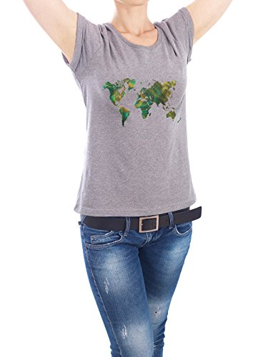"""Design T-Shirt Frauen Earth Positive """"world map 10"""" - stylisches Shirt Kartografie von Justyna Jaszke Grau"""