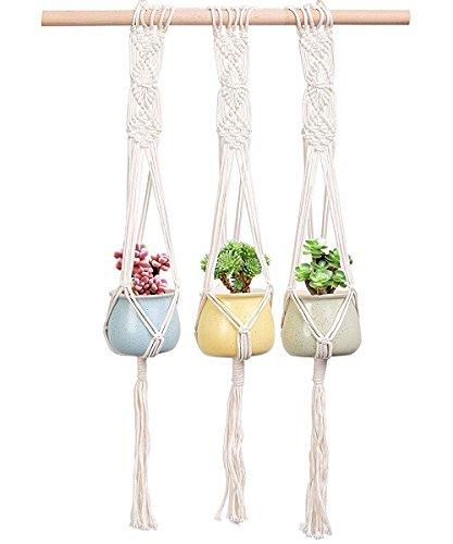 Pianta appesa 3 pezzi - recesky porta piante, vaso di fiori, fioriera per esterno e interno arredamento bohémien - giardino, casa, decorazioni da parete (corda di cotone, 63,5 cm)