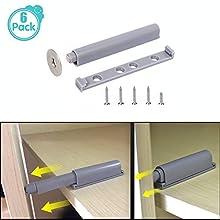 Apri porta a pressione professionale con chiusura magnetica, sistema Push-open, ammortizzatore, 2 pezzi - Serratura a pressione cassetto & ante (include viti), Grigio