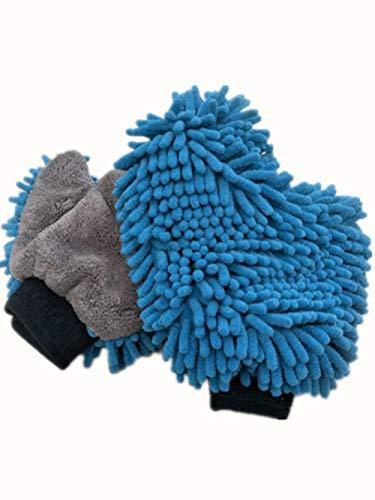 Microfaser Premium-Autowaschhandschuhe, 2er-Pack, Premium-Futter Microfaser-Autowaschhandschuhe - Keine Haarentfernung Daumenhandschuhe Double Side Wipe Gloves Coral Fleece