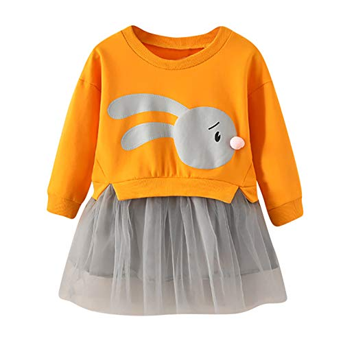 OSYARD Kinder Baby Mädchen Cartoon Bunny Pullover Kleid Patchwork Prinzessin Tüll Kleid Sweatshirt Kleidung,Kleinkind Niedlich Langarm Tops Shirts Oberteile Dress Party Kleid Minikleid(1-5 ()