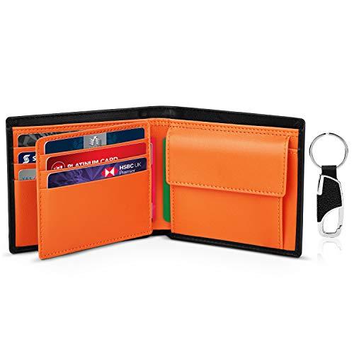 Portafoglio uomo slim bifold vera pelle blocco rfid, con tasca portamonete, 2 scomparti banconote, 10 porta carte di credito, portachiavi. portafogli piccolo sottile confezione regalo-nero & arancione