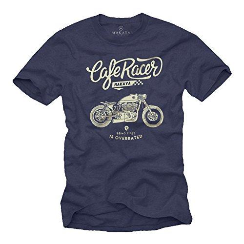 Camiseta Moto GP - Vintage Harley Biker T-Shirt Hombre Motocross Ropa Azul...