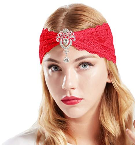 Kostüm Rot Samt - Coucoland Spitzen Haarband Damen Turban Hut mit Anhänger Kristall Brosche 1920s Stirnband Damen Exotisch Fasching Kostüm Accessoires (Rot)