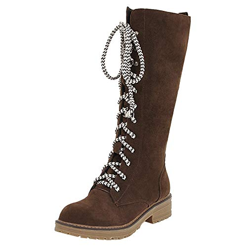 UFACE Damen Flache Schuhe Middle Tube Flock Lace-Up Martin Stiefel Lace-Up Runde Zehe Boot