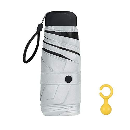 Vicloon mini ombrello portatile pieghevoli, leggero compatto antivento ombrello da viaggio con piatto manico, pioggia e uv protezione ombrello per uomo e donna (bianca)