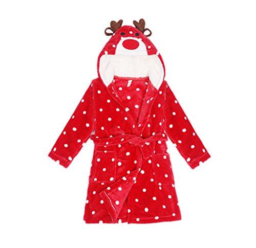 CuteOn Kinder Jungen Mädchen Supersoft Flanell | Bademantel | Dressing Gown Robe | Morgenmantel | Gürtel und Kapuze Christmas Hirsch 100cm - Small