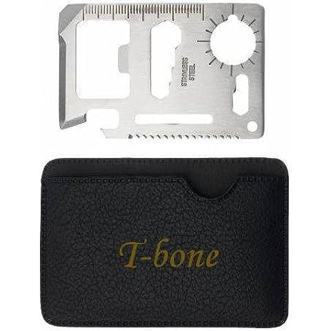 Herramienta multifunción de bolsillo con estuche con nombre grabado: T-bone (nombre de