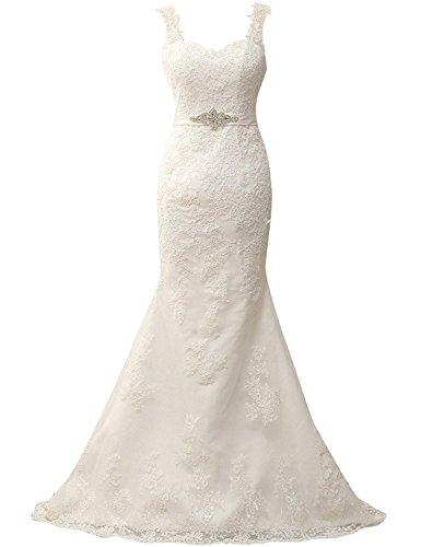 60acb493ba2 JAEDEN Damen Brautkleider Lang Spitze Meerjungfrau Hochzeitskleid  Rückenfrei Brautmode Elfenbein EUR46