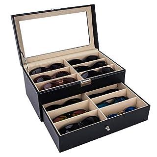 autoark Leder 12Stück Brillen Aufbewahrung und Sonnenbrille Brille Display Schublade abschließbar Fall Organizer, Schwarz, aawu-026