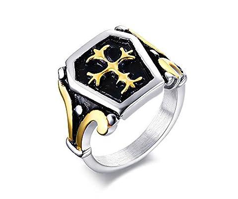 Vnox Stainless Steel Fleur-De-Lis Cross Signet Ring for Men,UK Size V 1/2
