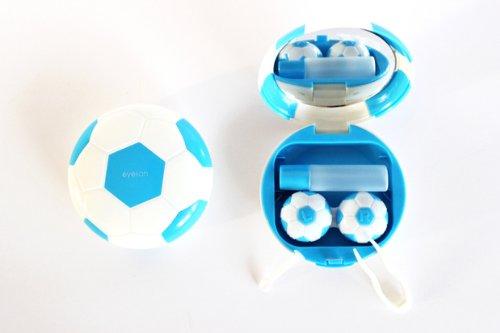 Kontaktlinsenbehälter Spiegel (Kontaktlinsenbehälter Aufbewahrungsbehälter Etui Set Spiegel Motiv Fußball Blau NEU)