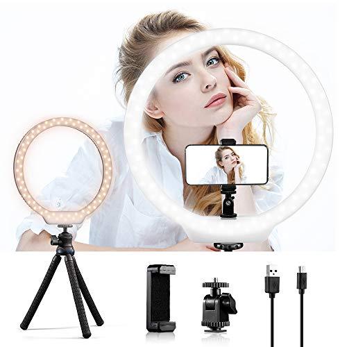 K&F Concept Selfie Ring Light Anneau LED Réglable 3200K-5600K Rechargeable avec Trépied Flexible Téléphone pour Vidéos Makeup Maquillage YouTube Blog