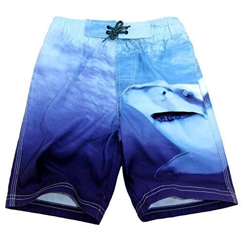 Jungen Gefüttert Swim Trunk (SLGADEN Jungen Badehose mit Kordelzug Shark Variiert Blau schnell trocknend Badeshorts - Blau - (Taille : 30.8