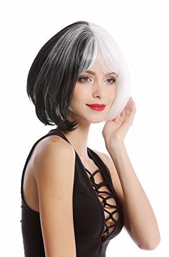 WIG ME UP - GF-W2289-1+1001 Perücke Damenperücke Qualitätsperücke Cosplay kurz Bob Longbob halb schwarz halb - Schwarze Und Weiße Frauen Kostüm