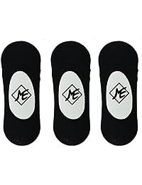 Me Stores Men's Solid Loafer Socks No Show Socks (Pack Of 3) ( Black )