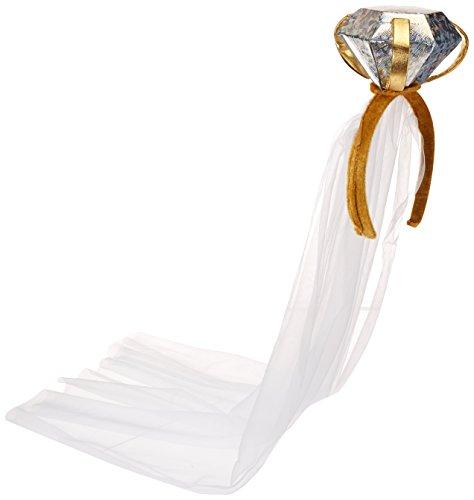 Haarreif mit Diamant und Schleier 75 cm
