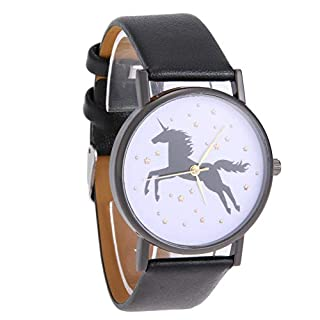 seawang Fashion Casual Quarz Sterne Studenten Armbanduhr Old Pointer Uhr (schwarz)