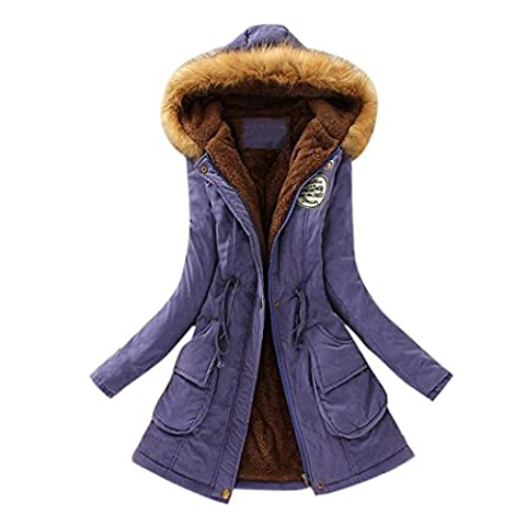 DAYLIN 1PC Womens Long Coat Fur Collar Hooded Jacket Winter Parka Outwear Coats (L, Purple)