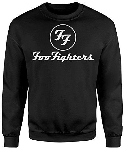 Felpa Unisex Foo Fighters White Logo - Felpa Set in girocollo LaMAGLIERIA Nero