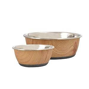 Cajou Antirutsch Napf-Set Futternapf und Wassernapf für Hunde Marmoroptik oder Holzoptik (2 x 1900 ml, Holzoptik)