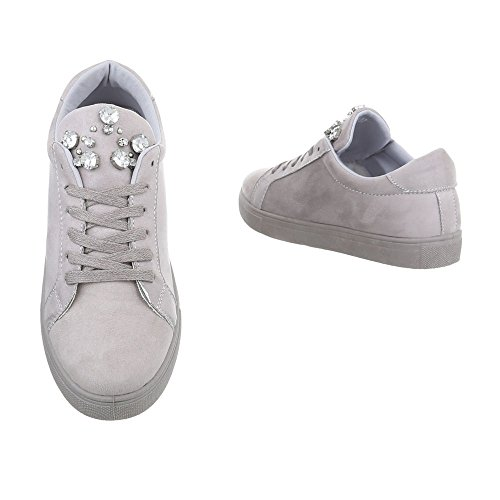Ital-Design Sneakers Low Damenschuhe Sneakers Low Sneakers Schnürsenkel Freizeitschuhe Grau G-33