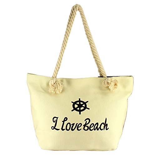 Ideal Shoes – Borsa da spiaggia in tela classica Calia Beige